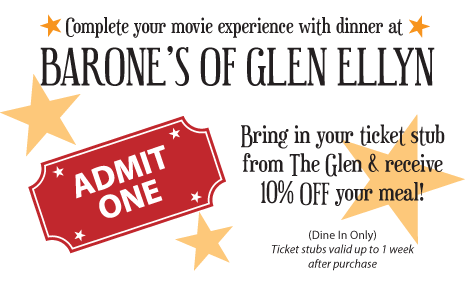 Receive 10% OFF your order when you bring in your Glen Arts Theater ticket stub (Dining Room Only)