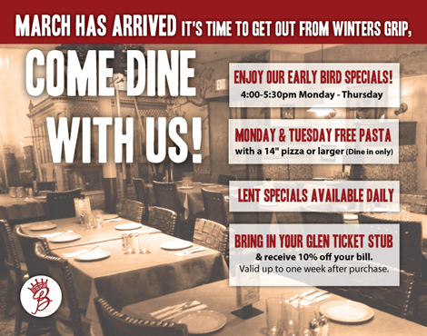 Barone's Pizza Glen Ellyn March Dining Room Specials